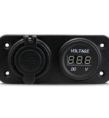 CH4x4 12v Dual USB Socket with Voltmeter - Flush Mount
