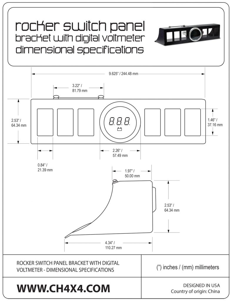 Rocker Switch Panel Bracket with digital voltmeter Dimensional Specifications
