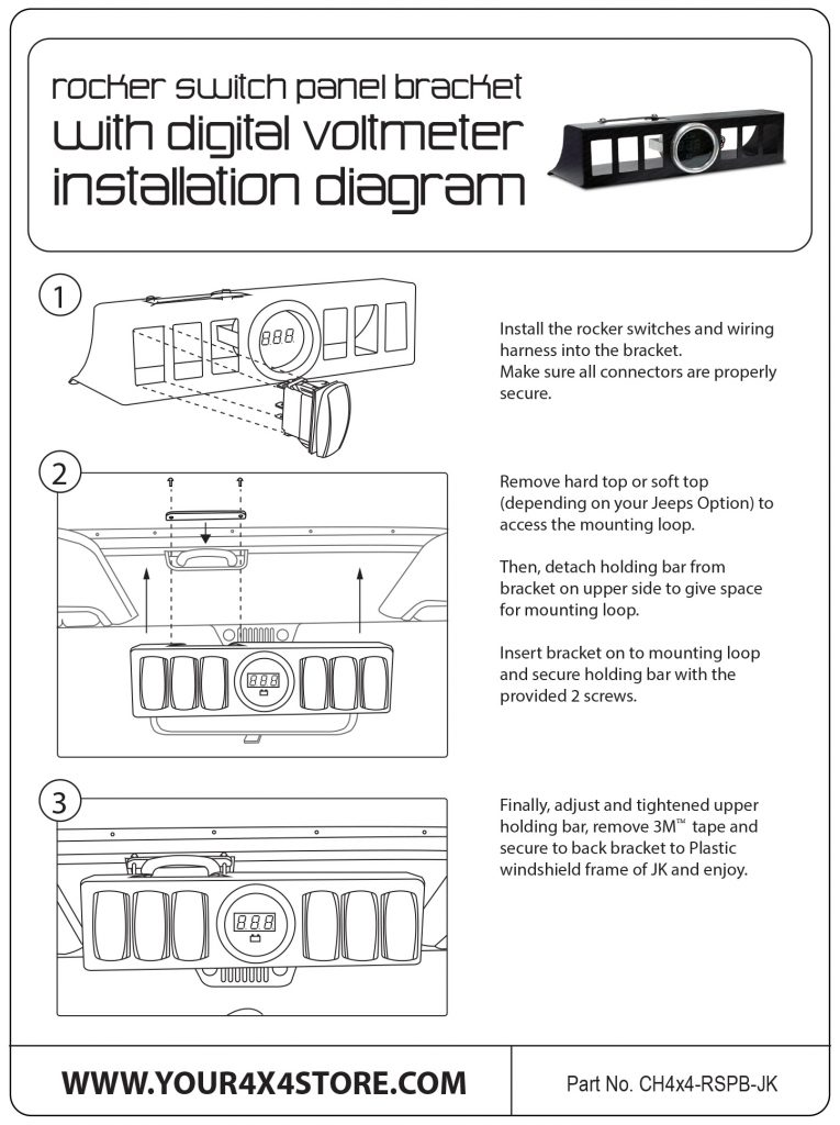Rocker Switch Panel Bracket instalation diagram