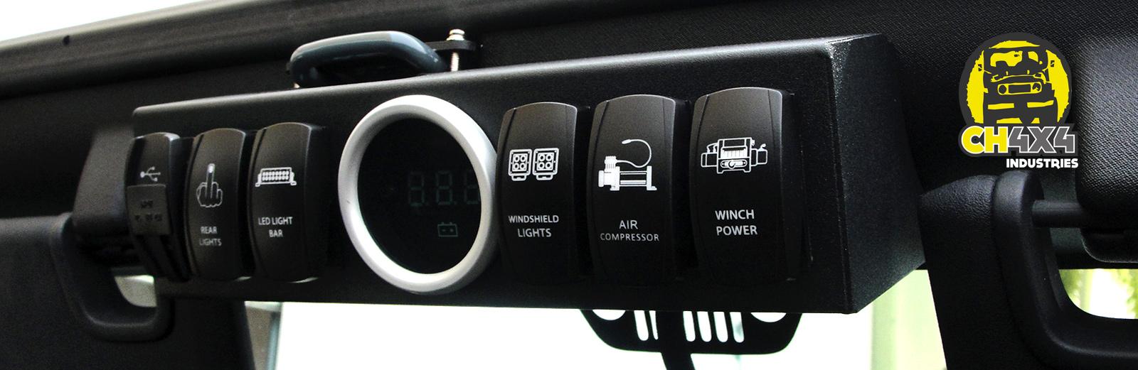 Jeep Jk Switch Panel Wrangler Dash Switches Ch4x4 Rocker Bracket With Digital Voltmeter For 2007 2015