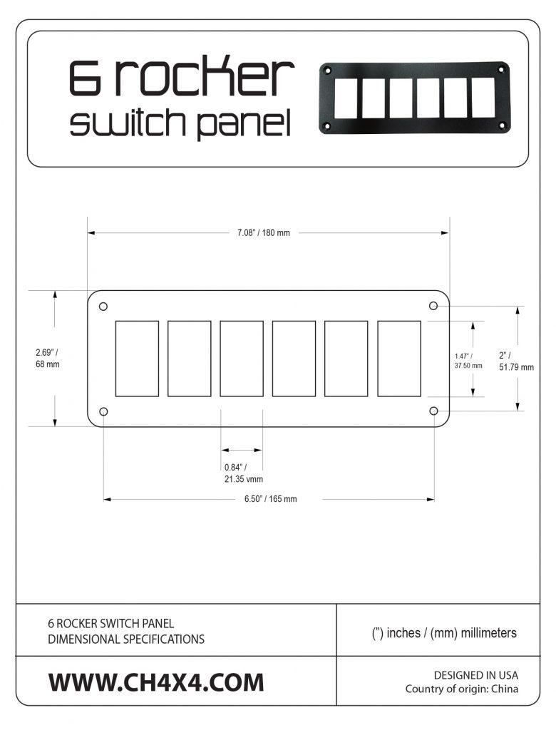 Ch4x4 6 rocker switch panel 6 rocket switch panel dimensional specifications biocorpaavc