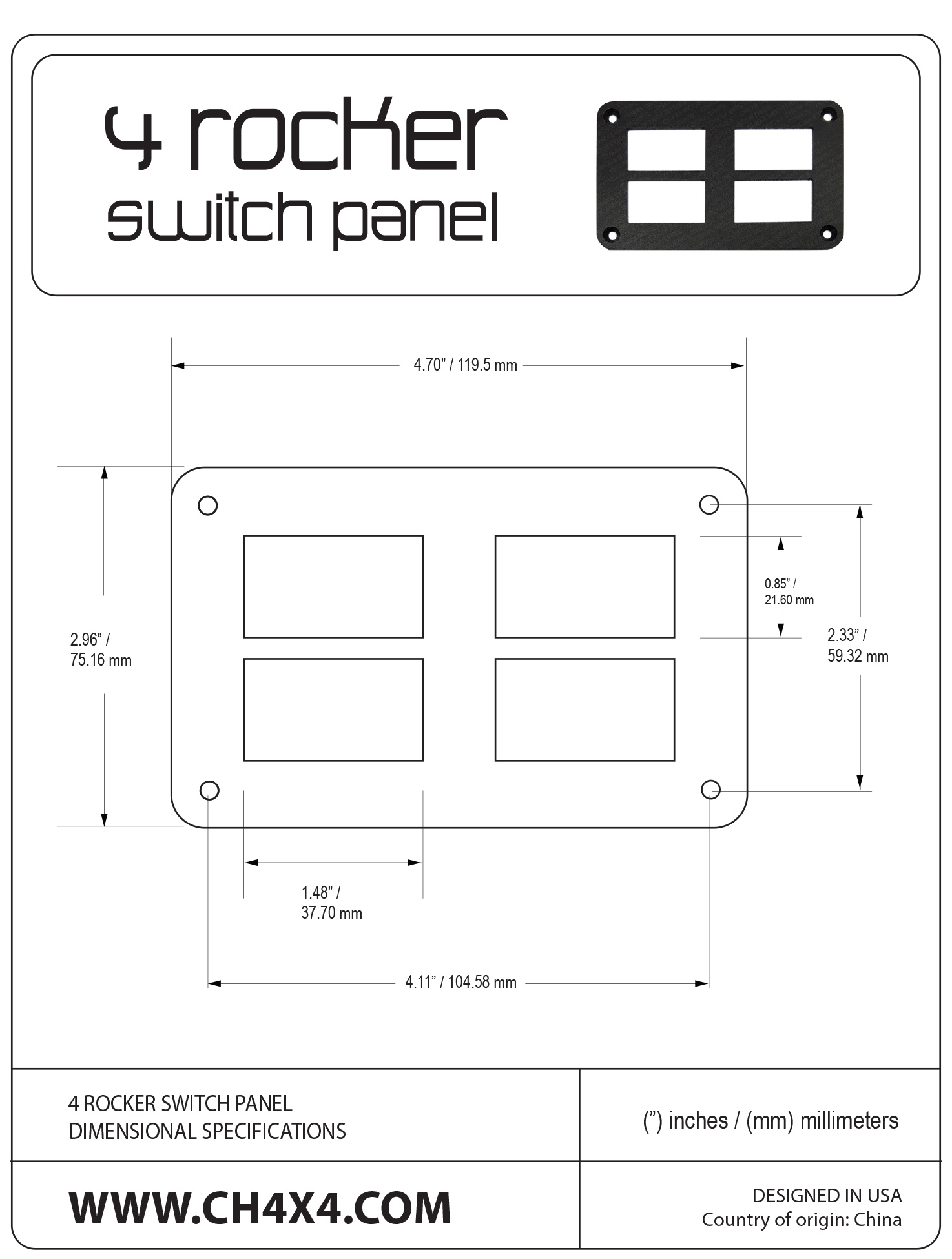 4-Rocket-Switch-Panel-Dimensional-Specifications-B