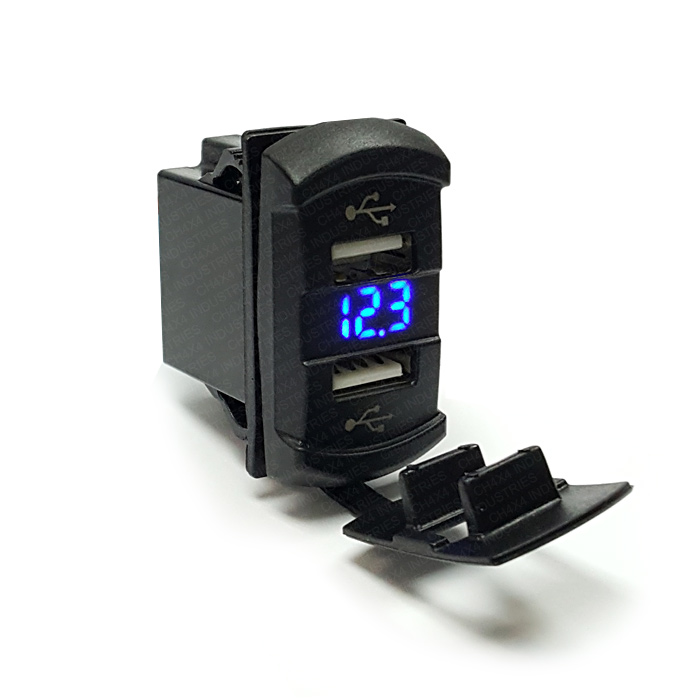 CH4x4 USB & Voltmeter Power Socket Rocker Style